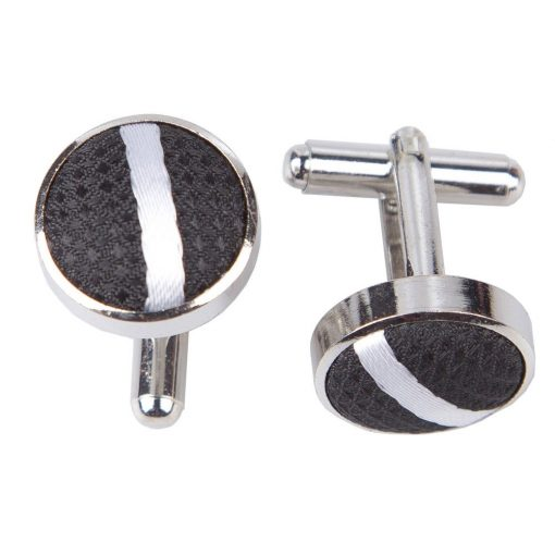 Black & White Single Stripe Cufflinks