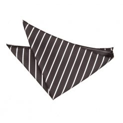 Black & White Single Stripe Pocket Square