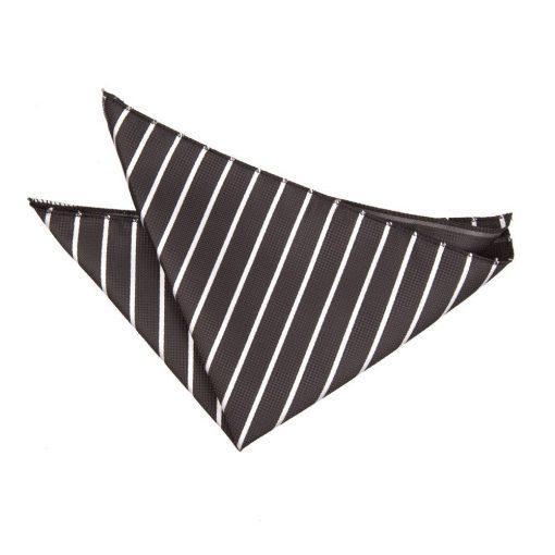 Black & White Single Stripe Handkerchief / Pocket Square