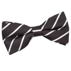 Black & White Single Stripe Pre-Tied Bow Tie