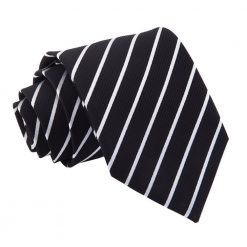 Black & White Single Stripe Classic Tie