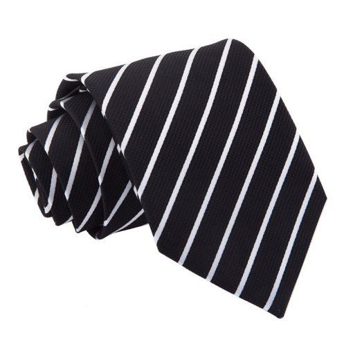 Black & White Single Stripe Classic Tie