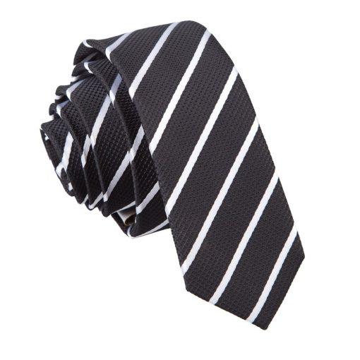Black & White Single Stripe Skinny Tie
