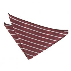 Burgundy & Silver Single Stripe Handkerchief / Pocket Square