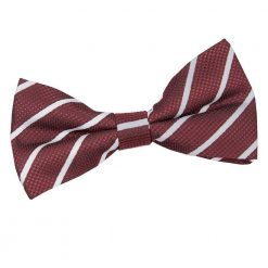 Burgundy & Silver Single Stripe Pre-Tied Bow Tie