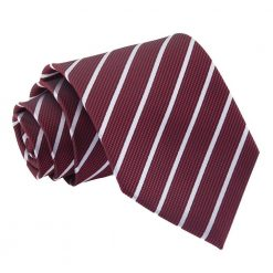 Burgundy & Silver Single Stripe Classic Tie