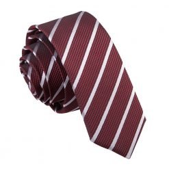Burgundy & Silver Single Stripe Skinny Tie