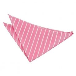 Hot Pink & White Single Stripe Pocket Square