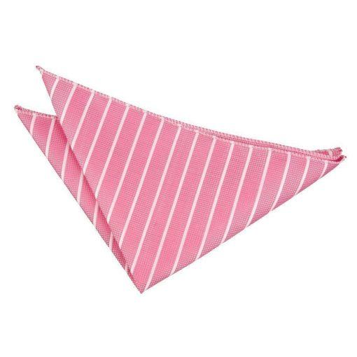 Hot Pink & White Single Stripe Pocket Square