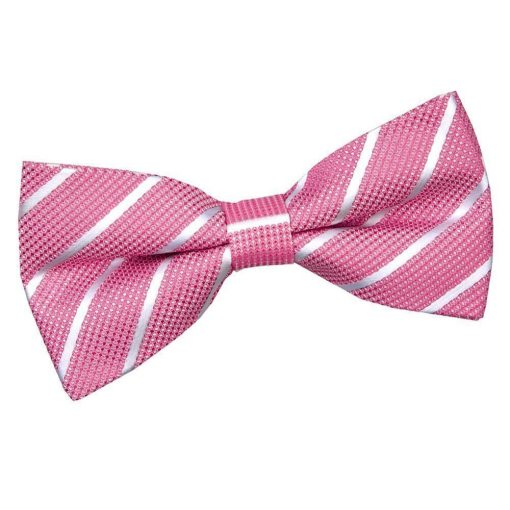 Hot Pink & White Single Stripe Pre-Tied Bow Tie