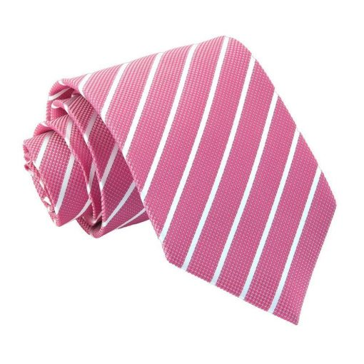 Hot Pink & White Single Stripe Classic Tie
