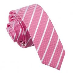 Hot Pink & White Single Stripe Skinny Tie