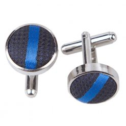 Navy & Mid Blue Single Stripe Cufflinks