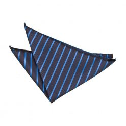 Navy & Mid Blue Single Stripe Handkerchief / Pocket Square