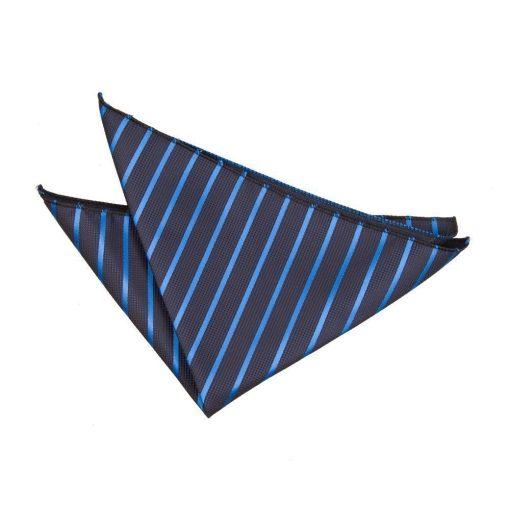 Navy & Mid Blue Single Stripe Handkerchief / Pocket Square
