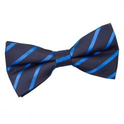 Navy & Mid Blue Single Stripe Pre-Tied Bow Tie