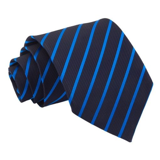 Navy & Mid Blue Single Stripe Classic Tie