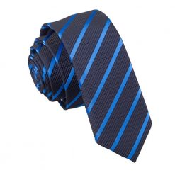 Navy & Mid Blue Single Stripe Skinny Tie