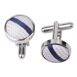 Silver & Navy Single Stripe Cufflinks