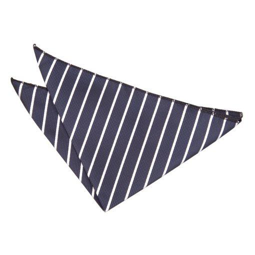 Navy & White Single Stripe Pocket Square