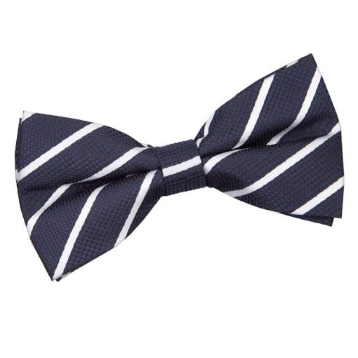 Navy & White Single Stripe Pre-Tied Bow Tie