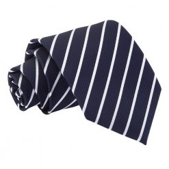 Navy & White Single Stripe Classic Tie