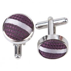 Purple & Silver Single Stripe Cufflinks