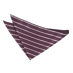 Purple & Silver Single Stripe Pocket Square