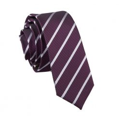 Purple & Silver Single Stripe Skinny Tie