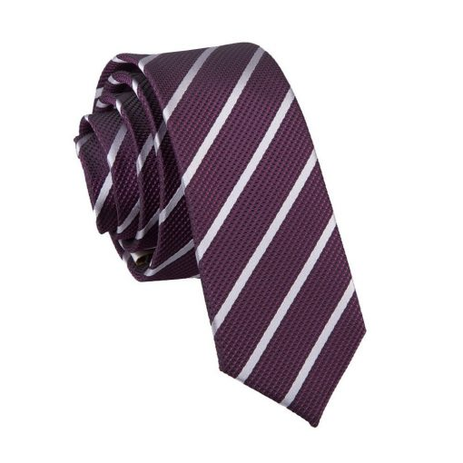 Purple & Silver Single Stripe Skinny Tie