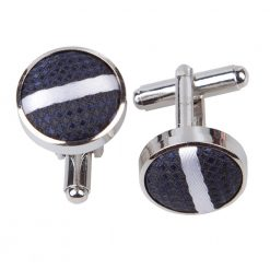 Navy & White Single Stripe Cufflinks