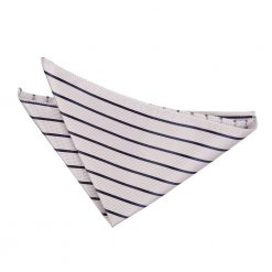 Silver & Navy Single Stripe Pocket Square
