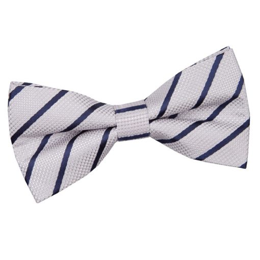 Silver & Navy Single Stripe Pre-Tied Bow Tie