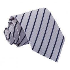 Silver & Navy Single Stripe Classic Tie