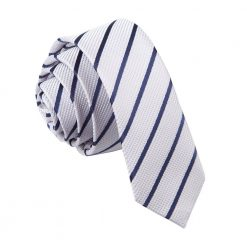 Silver & Navy Single Stripe Skinny Tie