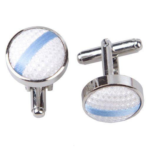 White & Baby Blue Single Stripe Cufflinks