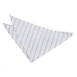 White & Baby Blue Single Stripe Handkerchief / Pocket Square
