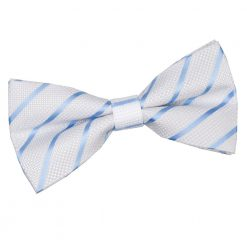 White & Baby Blue Single Stripe Pre-Tied Bow Tie