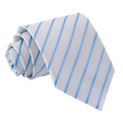 White & Baby Blue Single Stripe Classic Tie