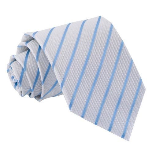 White & Baby Blue Single Stripe Classic Tie