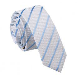 White & Baby Blue Single Stripe Skinny Tie
