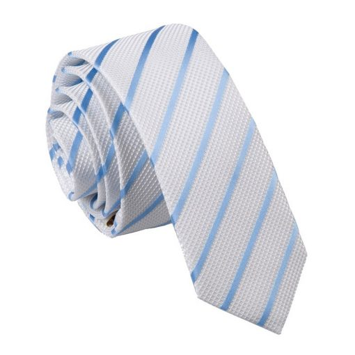 White & Baby Blue Single Stripe Skinny Tie