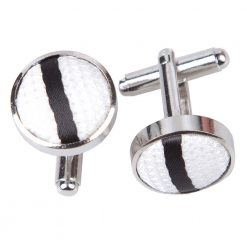 White & Black Single Stripe Cufflinks