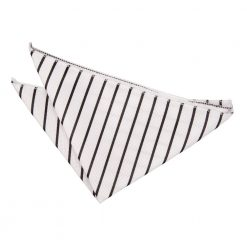 White & Black Single Stripe Handkerchief / Pocket Square