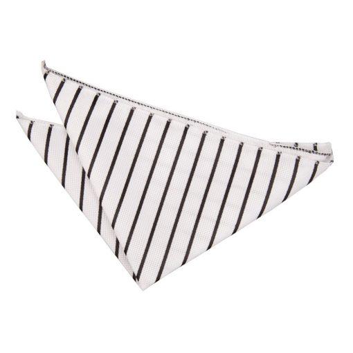 White & Black Single Stripe Handkerchief / Pocket Square