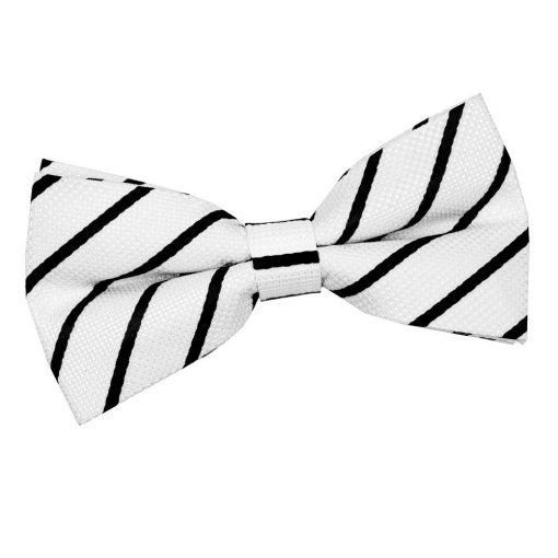 White & Black Single Stripe Pre-Tied Bow Tie