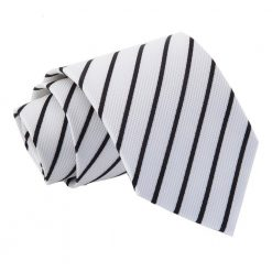 White & Black Single Stripe Classic Tie