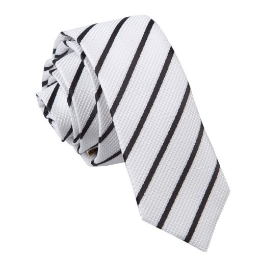 White & Black Single Stripe Skinny Tie