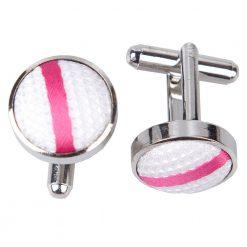 White & Hot Pink Single Stripe Cufflinks