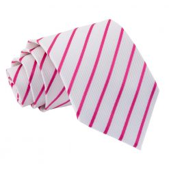 White & Hot Pink Single Stripe Classic Tie